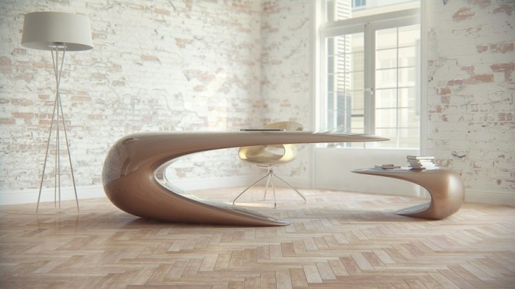 brown-nebbessa-desk-nuvist-curvilinear-design-parquet-wooden-floor-laminated-glass-window-natural-brick-wall-light-brown-chair-945x531