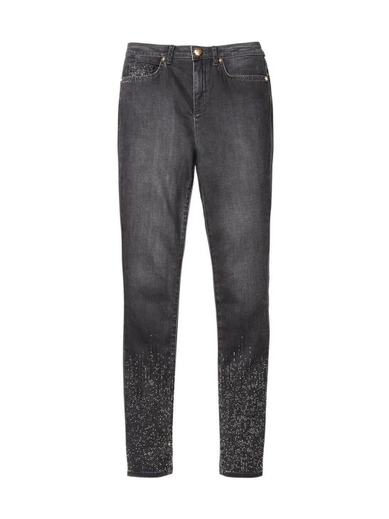 ג'ינס שווה אבני חן כסופות למטה
