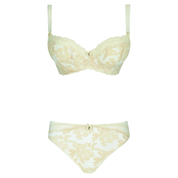 MAE-CHAMPAGNE-UNDERWIRED-PADDED-HALF-CUP-BRA-9101-BRAZILIAN-THONG-9107